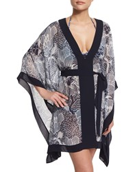 Diane Von Furstenberg Maldives Printed Short Caftan Coverup Women's Size Medium Flwr Pwr Midnight