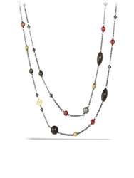 David Yurman Bead Necklace With Black Onyx Hematine And Gold Silver Multi