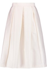Raoul Florence Pleated Wool And Silk Blend Skirt Ivory