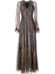 Etro Paisley Print Silk Blend Maxi Dress Multicolour