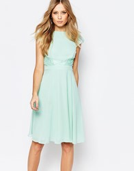 Elise Ryan Skater Dress With Lace Inserts Green