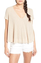 Lush Women's V Neck Rib Knit Swing Tee Oxford Tan