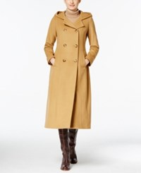 Anne Klein Hooded Double Breasted Maxi Coat Camel