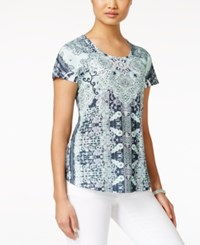 Styleandco. Style And Co. Printed Short Sleeve Top Only At Macy's Midway Run