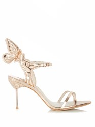 Sophia Webster Chiara Butterfly Wing Embroidered Sandals Gold