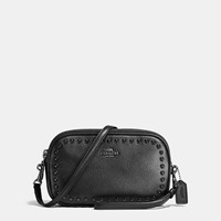 Coach Lacquer Rivets Crossbody Clutch In Pebble Leather Black Antique Nickel Black