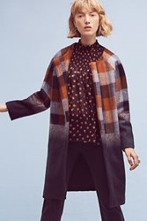 Anthropologie Ombre Plaid Coat Blue Motif