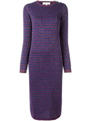 Carven Striped Jersey Dress Pink And Purple