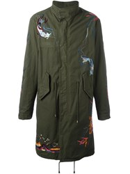 Amen Embroidered Military Coat Green