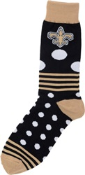 For Bare Feet New Orleans Saints Dots And Stripes 538 Socks Black