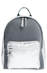 Poverty Flats By Rian 'Sport' Faux Leather And Mesh Backpack Grey