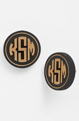 Women's Moon And Lola 'Chelsea' Medium Personalized Monogram Stud Earrings Ebony Gold Nordstrom Exclusive