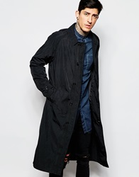 Longline Trench Coat With Belt In Black