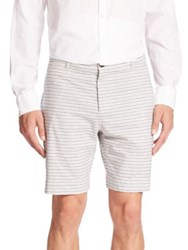 Billy Reid Striped Bermuda Shorts Blue Cream