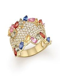 Bloomingdale's Multicolor Sapphire And Diamond Statement Ring In 14K Yellow Gold Gold Multi