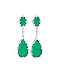 Judith Ripka Sophia Green Chalcedony Double Drop Earrings