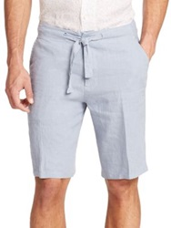 Saks Fifth Avenue Linen Drawstring Shorts Taupe Dusty Blue