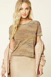 Forever 21 Faded Camo Print Tee Tan Brown