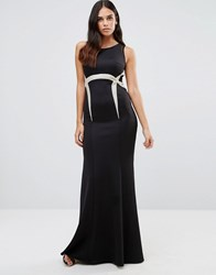 Forever Unique Olympia Maxi Dress With Waist Embelishment Black And Gold