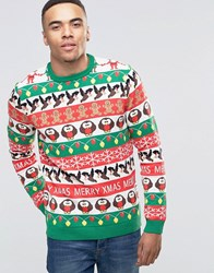 Asos Christmas Jumper With All Over Festive Pattern Multi