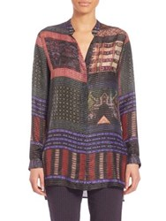 Etro Lurex Silk Tunic Purple Multi