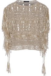 Isabel Marant Benett Fringed Crocheted Silk Blend Top Nude