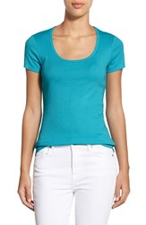 Petite Women's Caslon Short Sleeve Scoop Neck Tee Teal Plumage