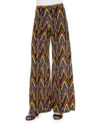 M Missoni Wide Leg Tribal Zigzag Print Pants