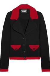 Boutique Moschino Two Tone Wool Blend Boucle Jacket Black