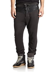 Prps Leather Trimmed Sweatpants Black