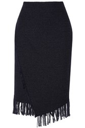 By Malene Birger Diva Fringed Boucle Midi Skirt Navy