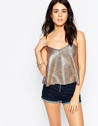 South Beach Gold Foil Swing Beach Crop Top With Strap Detail Metallic Gold