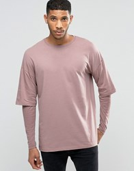 Asos Oversized Long Sleeve T Shirt With Rib Double Layer Sleeves In Pink Pink