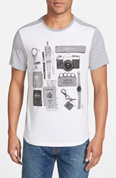 Howe 'Objects' Graphic T Shirt White Heather Grey