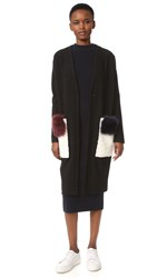 Anne Vest Cannes Cardigan With Double Shearling Pockets Black White Blue Bordeaux