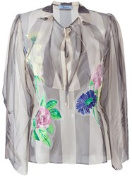 Blumarine Floral Applique Striped Blouse Nude And Neutrals