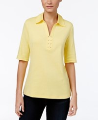 Karen Scott Elbow Sleeve Lace Up Top Only At Macy's Buttercup Yellow