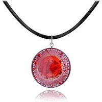 Akuamarina Silver Leaf And Murano Glass Round Pendant Necklace Red