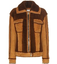 Coach Shearling And Suede Jacket Brown