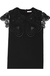 Christopher Kane Love Heart Guipure Lace Trimmed Stretch Crepe Top Black