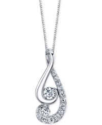 Proud Mom Designed By Jaime King Diamond Swirl Pendant Necklace 1 2 Ct. T.W. In 14K White Gold No Color