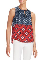 Collective Concepts Mixed Print Top Navy Multi
