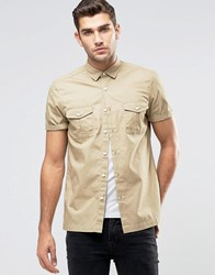 Asos Military Shirt In Stone With Short Sleeves Stone
