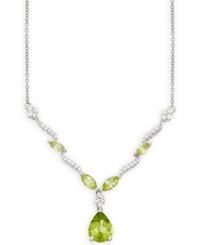 Macy's Peridot 2 Ct. T.W. And White Topaz 1 2 Ct. T.W. Pendant Necklace In Sterling Silver Green