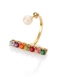 Delfina Delettrez Gold Vein Multicolor Topaz Peridot And 4Mm White Freshwater Pearl Single Earring Yellow Gold