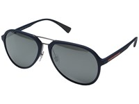 Prada Linea Rossa 0Ps 05Rs Blue Rubber Grey Mirror Silver Fashion Sunglasses