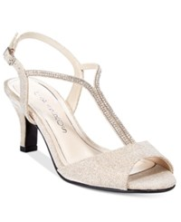 Caparros Delicia T Strap Evening Sandals Women's Shoes Nude Glimmer