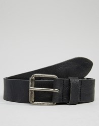 Asos Leather Belt With Vintage Finish Black