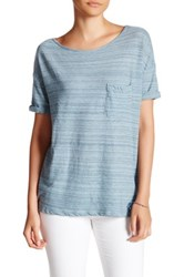 Three Dots Scoop Neck Pocket Tee Blue