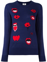 Sonia Rykiel By Lips Intarsia Jumper Blue